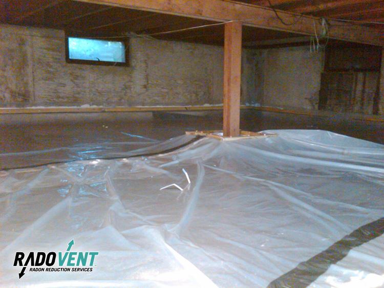 Crawlspace vapor barrier for radon gas