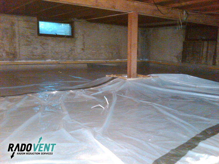 Crawlspace vapor barrier for radon gas