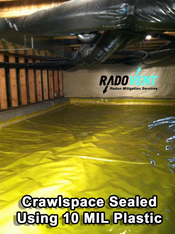 Crawlspace vapor barrier radon