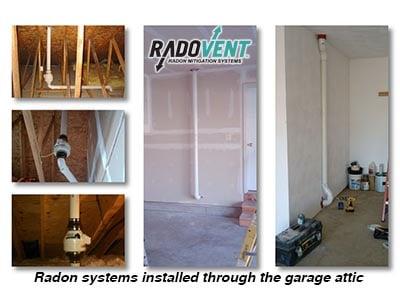 radon system garage attic install
