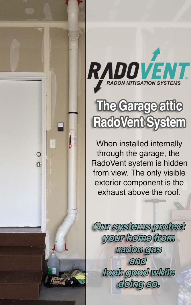 garage attic radon mitigation system example