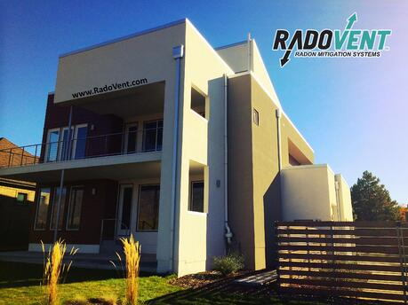 Radon system on contemporary home